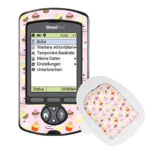 Omnipod PDM und Podsticker Cupcakes