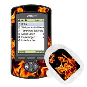 Omnipod PDM und Podsticker Flames