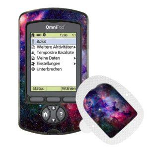Omnipod PDM und Podsticker Galaxy