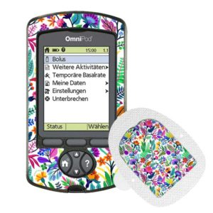 Omnipod PDM und Podsticker Happy Flowers
