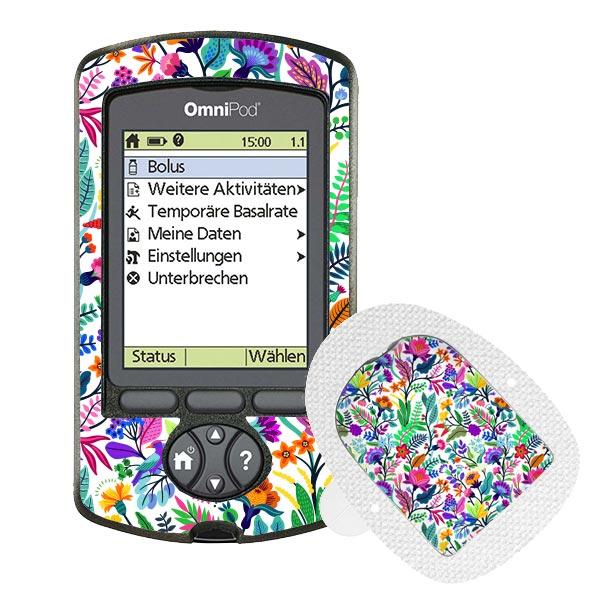Omnipod PDM und Podsticker Happy Flowers