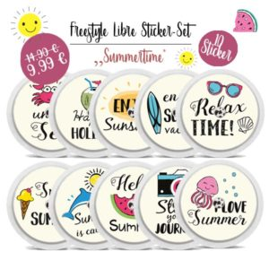 Freestyle Libre Sticker Set - 10 Aufkleber mit Sommermotiven