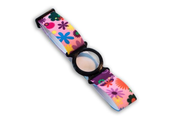 Freestyle Libre Fixierband Ring Schwarz/Pink-Flowers (Flexibel/Sensitiv)