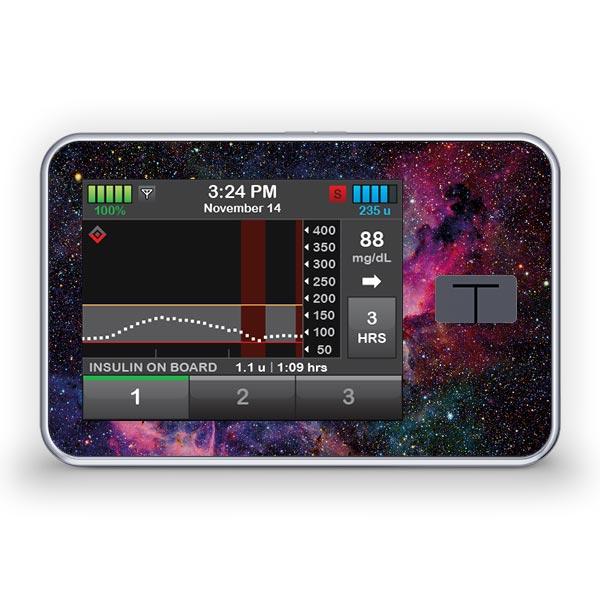 Sticker für die Tandem Diabetes Care t:slim X2 Insulinpumpe Design Galaxy