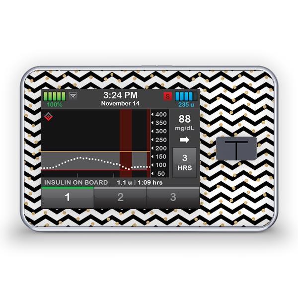Sticker für die Tandem Diabetes Care t:slim X2 Insulinpumpe Design Golden Dots