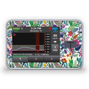 Sticker für die Tandem Diabetes Care t:slim X2 Insulinpumpe Design Happy Flowers