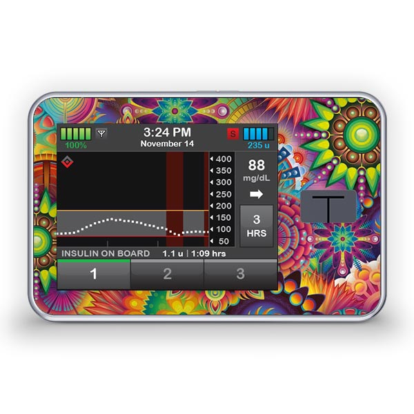Sticker für die Tandem Diabetes Care t:slim X2 Insulinpumpe Design Lebe bunt