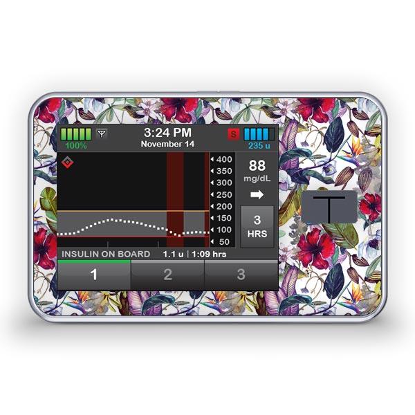 Sticker für die Tandem Diabetes Care t:slim X2 Insulinpumpe Design Wild Flowers