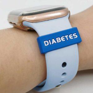 Silikonhinweis Silikonband mit Diabeteshinweis für Uhren Blau