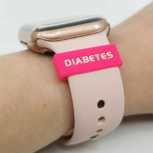 Silikonhinweis Silikonband mit Diabeteshinweis für Uhren Pink