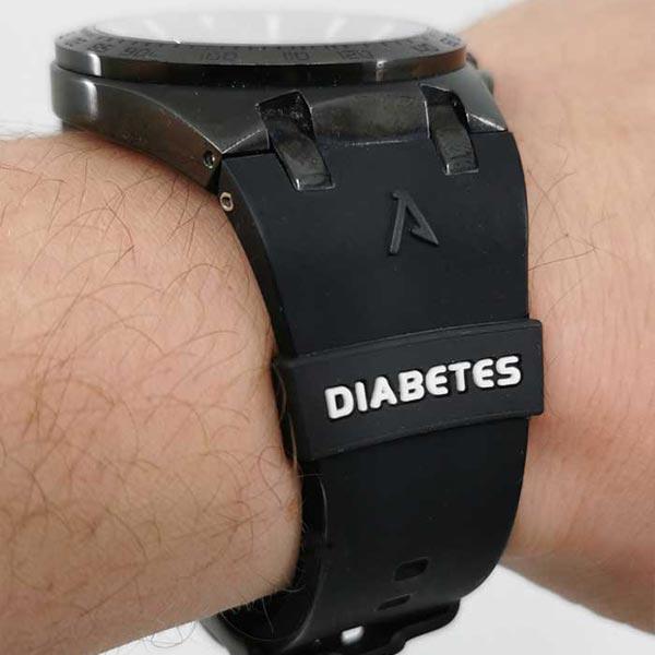 Silikonhinweis Silikonband mit Diabeteshinweis für Uhren Schwarz